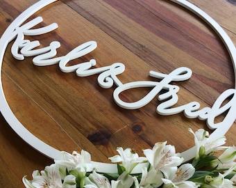 Round Signs - Wedding Hoop signs. - Customised timber laser cut hoops