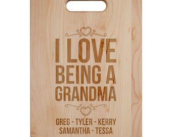 I Love Being A Grandma Cutting Board - Engraved Cutting Board,Personalized Cutting Board, Wedding Gift,Housewarming Gift, Anniversary Gift