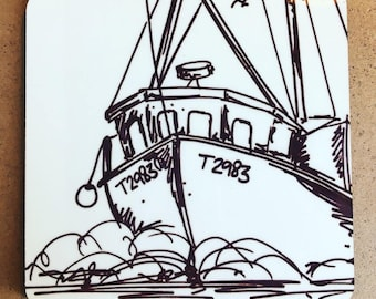 Cork backed coaster with fishing trawler boat design from original artwork