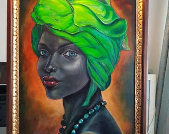 A dark girl in a green turban - Oil Painting
