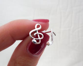 925 Sterling Silver Musical Notes Earrings, Clef Note Earrings, Music Note Earrings, Music Note Studs, Music Teacher Gift, Music Jewelry