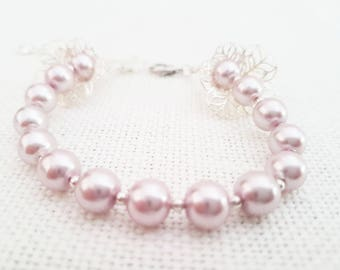 Lily Fillergree and Pink Glass Pearl Bracelet
