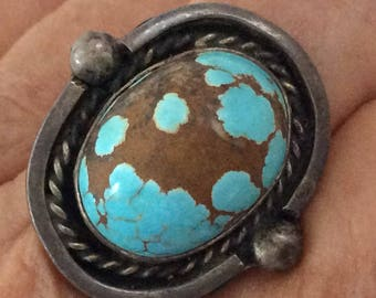 Turquoise Ring - Vintage - Native American - Navajo Ring - picture stone - natural turquoise  - gift for her