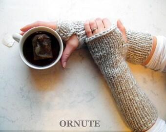 Long Arm Warmer Fingerless Gloves Long Half Finger Gloves Hand Knit Wrist Warmer Chunky Knit Gloves