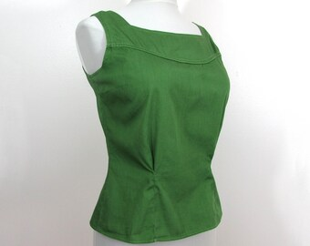 1950s Green Cotton Blouse - back buttons, darted waist - by Bobbie James - M