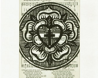 Luther Rose|Lutheran Art|Vintage Hymnal|A Mighty Fortress Is Our God|Reformation|Confirmation|Pastor Appreciation|Gifts for Lutherans|Seal