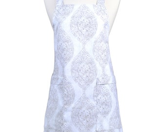 Japanese Crossback Apron Canvas Taupe and Ivory Retro Damask - Womens Vintage Style Crossover Pinafore Kitchen Apron