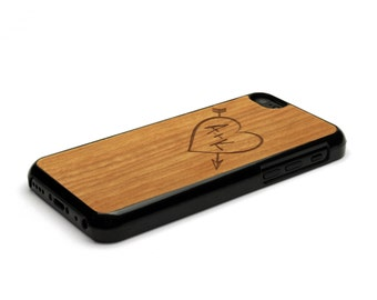 iPhone 5C Case Wood Carved Heart Custom Initials, Wood iPhone 5C Case, iPhone Case, iPhone 5, iPhone 5C Cover, iPhone 5c Wood Case