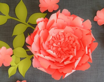 Peony Paper Flower Template PDF And SVG 2 Sizes