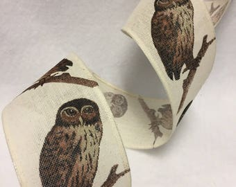 Owl Wired Burlap Ribbon By The Yard 36 Inches Long