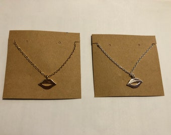 Small delicate gold and silver lip necklaces