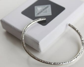 Solid Silver Cuff Bracelet, Hammered Cuff Bangle, Simple Cuff Bangle, Open Bangle, Silver Bangle, Textured Silver Cuff, Silver Jewelry