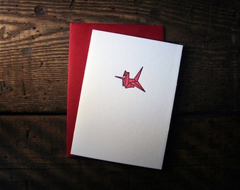 Letterpress Printed Origami Crane Card (Red) - single