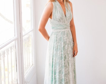 Lace bridesmaid dress, sage green lace dress, sage green dress, long lace dress, bridesmaids pastel green dress, pastel green long dress