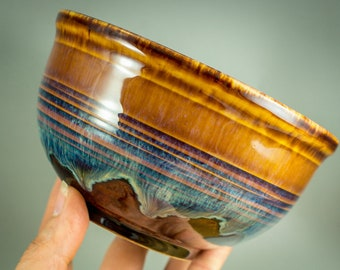 Cereal bowl, bowl in brown, cream blue, Merlot, approx. 500 ml