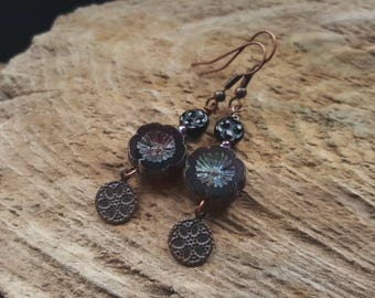 Deep Purple Gothic Flower Earrings, Boho Style Copper Earrings, Beaded Earrings, Dangly Bohemian Earrings, Hippy Earrings, Charm Earrings