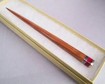 Red Hair Stick SHIPS IMMEDIATELY 7-inch Handmade Red Desert Ironwood Hair Pick