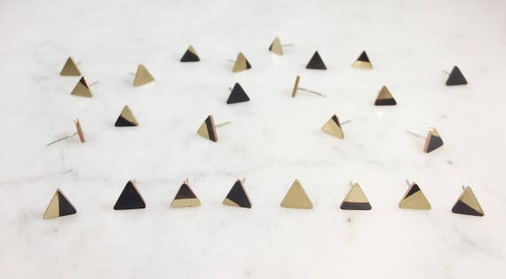Mix n' Match Black and Gold Triangle Studs