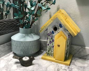Birdhouse, Decorative Hand Painted Bird House Country Home Decor, Handmade Birdhouses, Yellow & White with Purple Flowers, Item #566441875