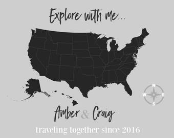 USA Travel Map, Map Your Travels, Canvas Pushpin Map, Husband Gift, Personalized Canvas, Personalized Map, Personalized Wedding Gift