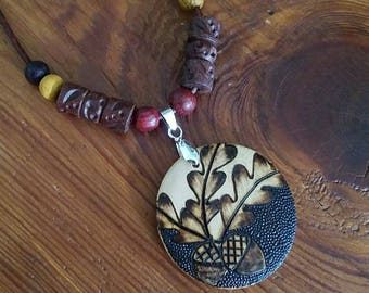 Oak Acorns Wood Burned Wooden Pendant Neclace