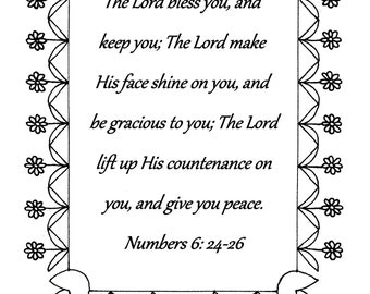 The Lord bless you and keep you, Numbers 6:24-26 Bible verse coloring page download