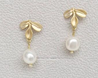 Three Petal Ear Studs with Freshwater Pearl, EAR-088, Flower Earrings, Floral Earrings, Gold Earrings, Pearl Earrings, Freshwater Pearl Ear