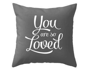 You are so loved pillow cover. Black and white nursery pillow White nursery decor White baby decor White baby pillow White kids pillow love