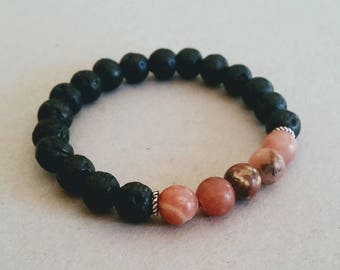 Pink Rhodonite Gemstone 8mm Diffuser Bracelet with Lava Beads