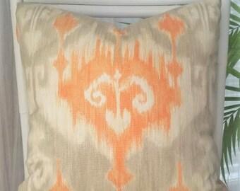 Richloom Marlena Ikat Global Orange Gray Cream Pillow Cover