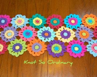 Flower Table Runner, Table Runner, Crochet Table Runner, Crochet Flower, Tablecloth, Centerpiece, Doily, Placemat