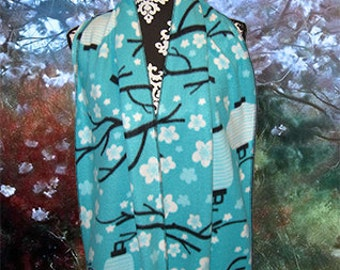 Spring Cherry Blossoms Fleece Scarf, Shoulder Wrap, Muffler, Wide Bufanda
