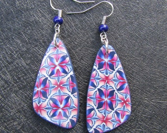 Blue, pink and white polymer clay earrings