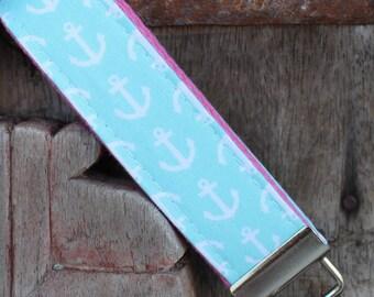 READY TO SHIP-Beautiful Key Fob/Keychain/Wristlet-White Anchors On Bubblegum Pink