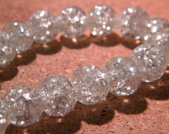Crackle Glass 10 mm transparent - PE295 40 beads