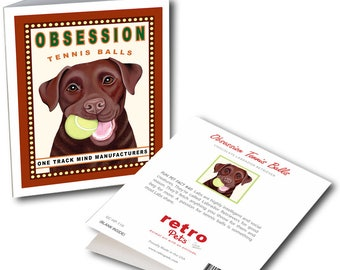 "Labrador Cards  ""Obsession Chocolate"" 6 Small Greeting Cards by Krista Brooks"