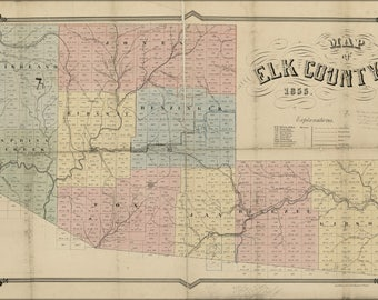 Poster, Many Sizes Available; Map Of Elk County  Pennsylvania 1855