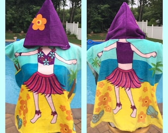 Hula Dancer Hooded Cotton Poncho Beach Towel Personalized