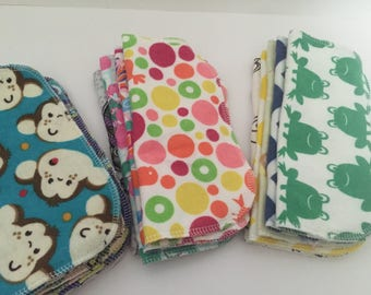 Set of 24 flannel double sided wipes choose gender, baby wipes, reusble cloth, cloth wipes