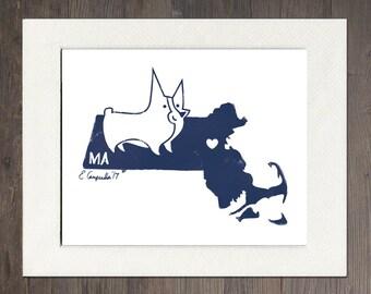 Massachusetts Matted Art Print