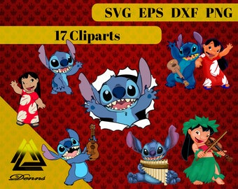 Lilo and Stitch Clipart –17 (Svg, Eps, Png, Dxf Files) 300 PPI, Vectorial Images, Lilo and Stitch svg, Lilo and Stitch Printable