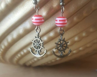 Red and white striped bead anchor earrings