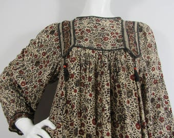 Vintage 1970's PHOOL Hand Printed, Block Printed Indian Cotton Dress, Boho, Hippy, Festival- UK8/10/12