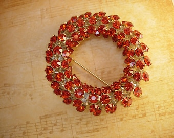 Vintage 100 Rhinestone Brooch Chunky cascading Circle Fall colors