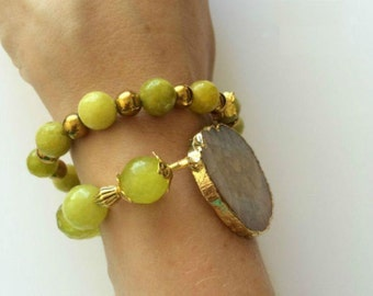 Jade, Hematite with Druzy Agate bracelets, set of two bracelets (#2901)