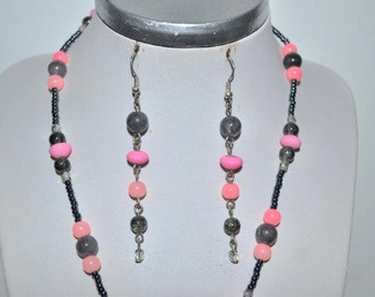 Pink and grey earrings long