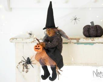 Halloween Witch ,Bathilda, Art Doll, One of the kind needle felted sculpture, Home Decoration for Halloween - FREE SHIPPING with in USA