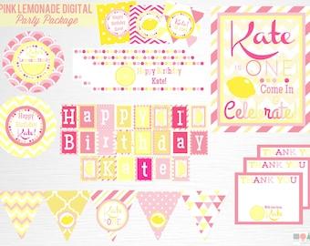 Pink Lemonade Birthday Party Printable Package YOU Print