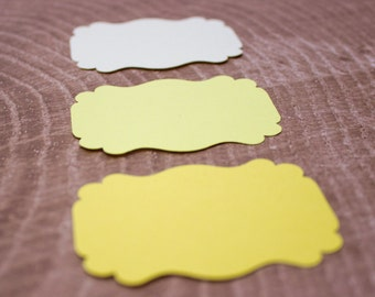 Yellow Ombre Die Cut Bracket Labels - MULTIPLE COLORS - DIY Die Cut Tags - Card Stock Label - Scrapbooking
