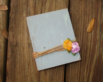 Barn Wood Picture Frame, Country Blue Rustic Frame, Wood Block Picture Holder, Twine Wrapped Wood with Roses